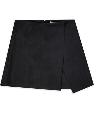 Black Woven Wrap Skort