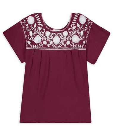 Maroon Embroidered Howdy Top