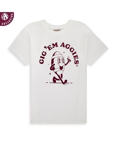Aggie Comfort Wash GIG 'EM AGS FOOTBALL CARTOON T-shirt