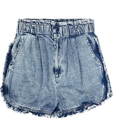 Acid Wash Denim Ruffle Shorts