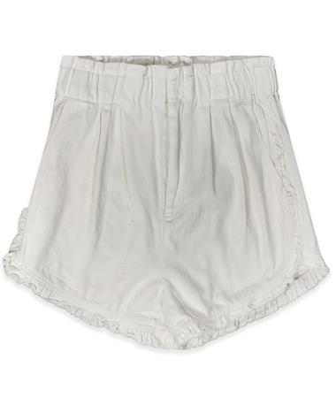 White Acid Wash Denim Ruffle Shorts