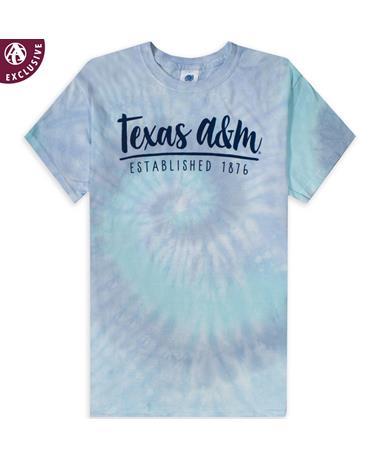 Texas A&M Established 1876 Blue Lagoon Tie Dye T-Shirt