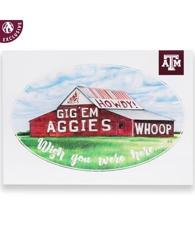 Texas A&M Aggies Gig 'Em Barn Postcard