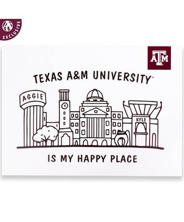 Texas A&M Happy Place Skyline Postcard