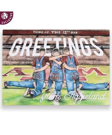 Texas A&M Yell Leaders Greetings From Aggieland Postcard