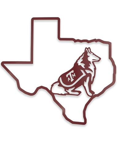 Texas A&M Lone Star Outline Reveille Sign