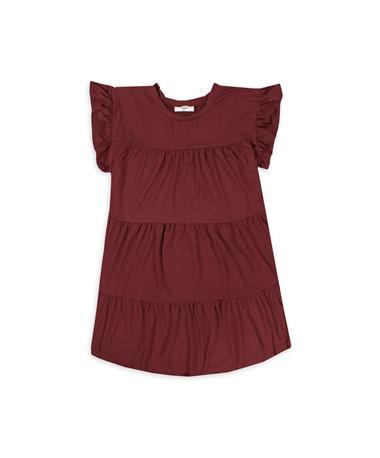 ENTRO Burgundy Scoop Neck Tiered Dress