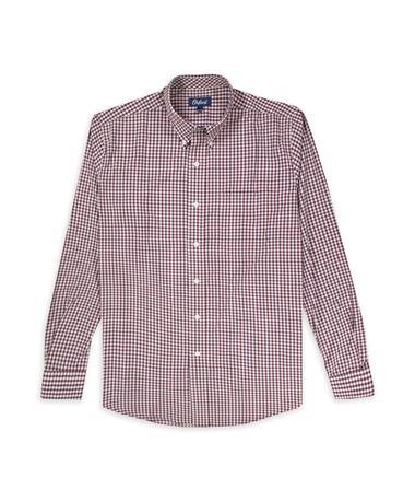 Maroon & White Howell LS Perf Plaid Buttondown Shirt