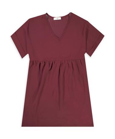 Burgundy ENTRO Rolled Sleeve V Neck Dress