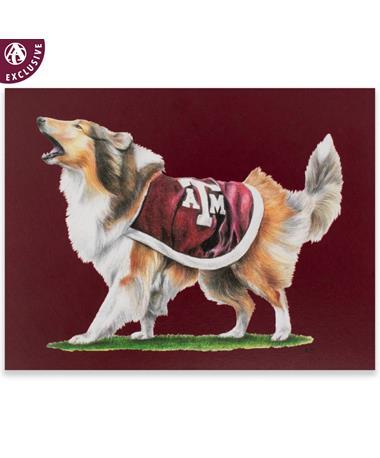 Texas A&M Barking Reveille Note Card