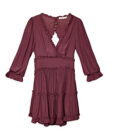 V-Neck Tiered Open Back Dress