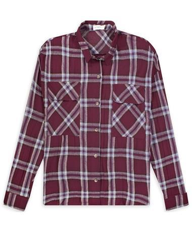 Maroon Plaid Ladies Long Sleeve Flannel
