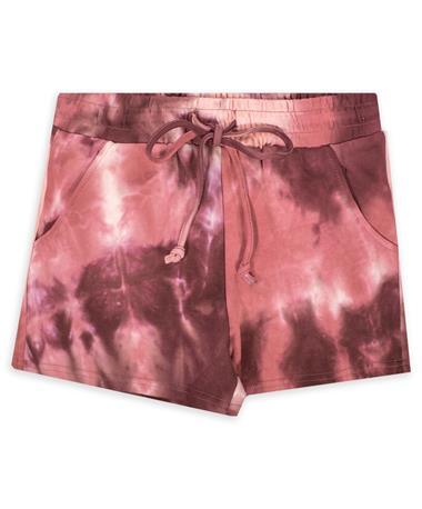 ENTRO Burgundy Tie Dye Shorts