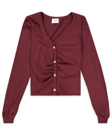 Maroon Long Sleeve Ribbed Button Down Top