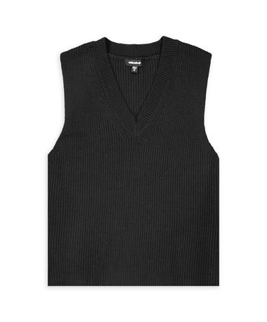 V-Neck Ribbed Crop Sweater Tank