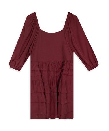 Maroon Quarter Sleeved Tiered Dress
