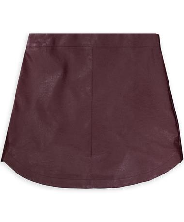 Maroon Straight Leather Skirt