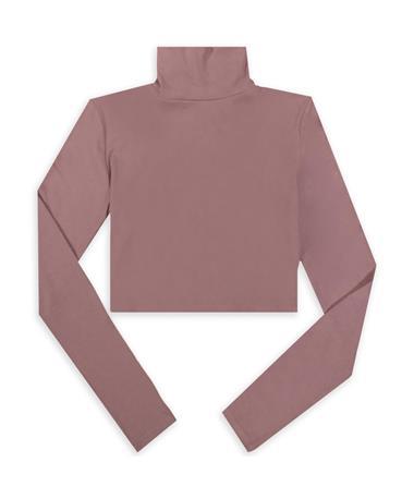 Maroon Mock Neck Long Sleeve Crop Top