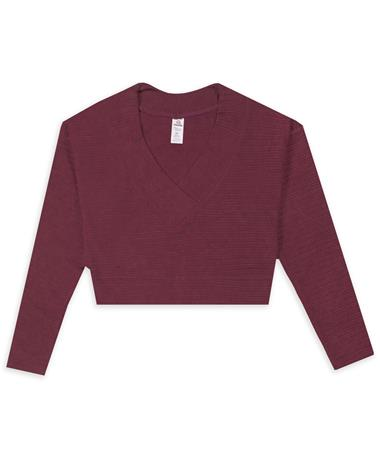 Maroon Ribbed V Neck Cropped Sweater