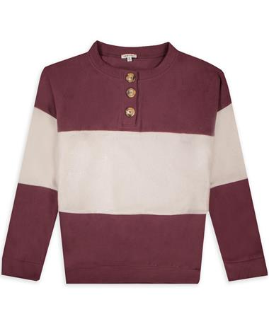 Maroon and White Women's Colorblock Button Fleece Top