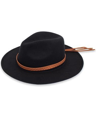 Felt Black Hat Leather Band