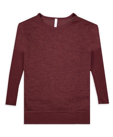 Maroon Sweater Ribbed Long-Sleeve