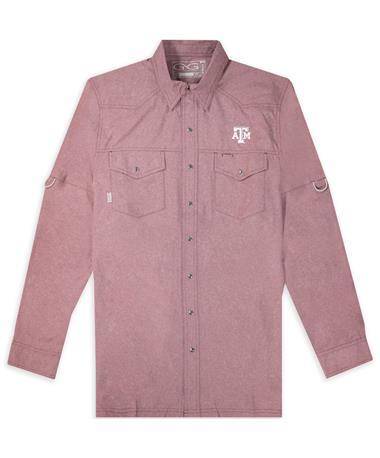 Texas A&M Maroon Pearl Snap Shirt Logo