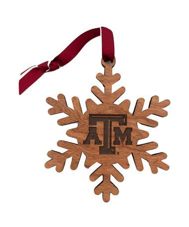 Texas A&M LazerEdge Wooden Snowflake Ornament
