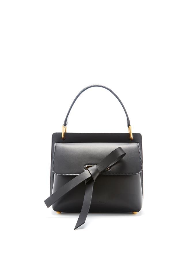 Black Leather Caveat Bag