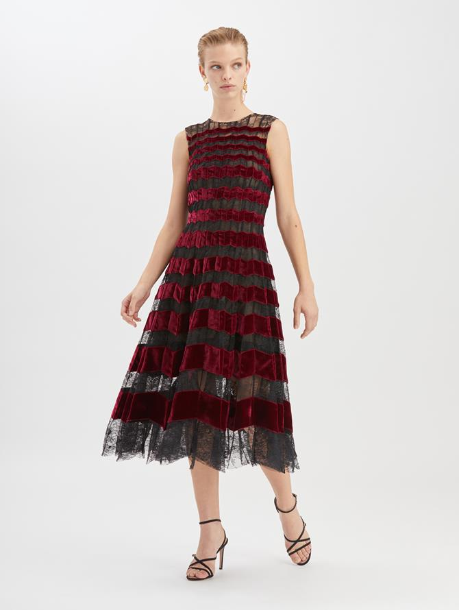 Chantilly Floral Lace and Velvet Cocktail Dress