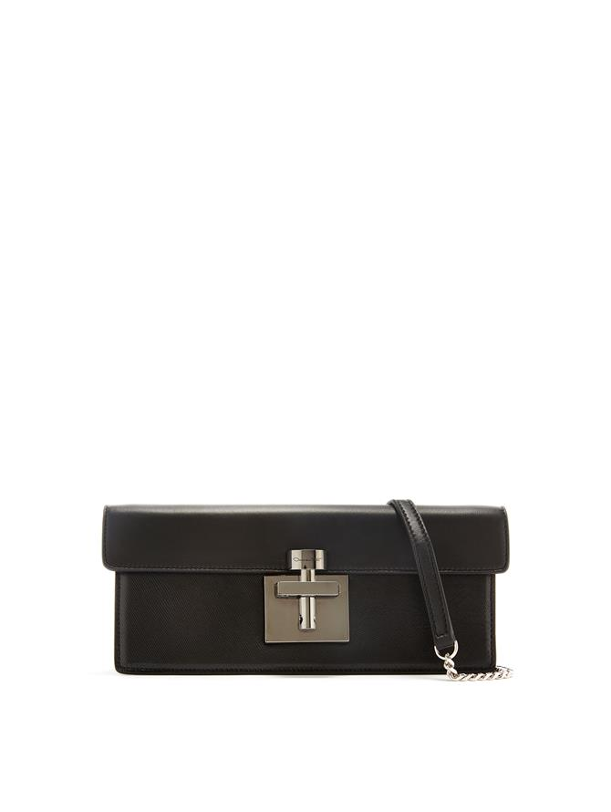 Black Leather Alibi Clutch