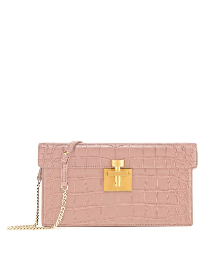 BLUSH ALLIGATOR ALIBI CLUTCH
