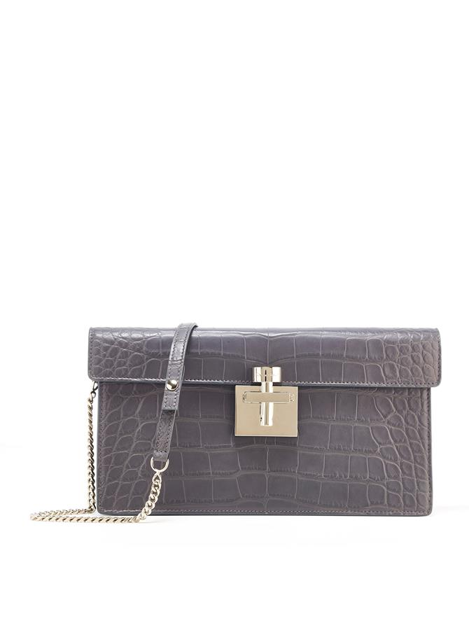 GREY ALLIGATOR ALIBI CLUTCH