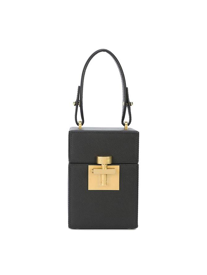BLACK & GOLD SAFFIANO ALIBI BAG