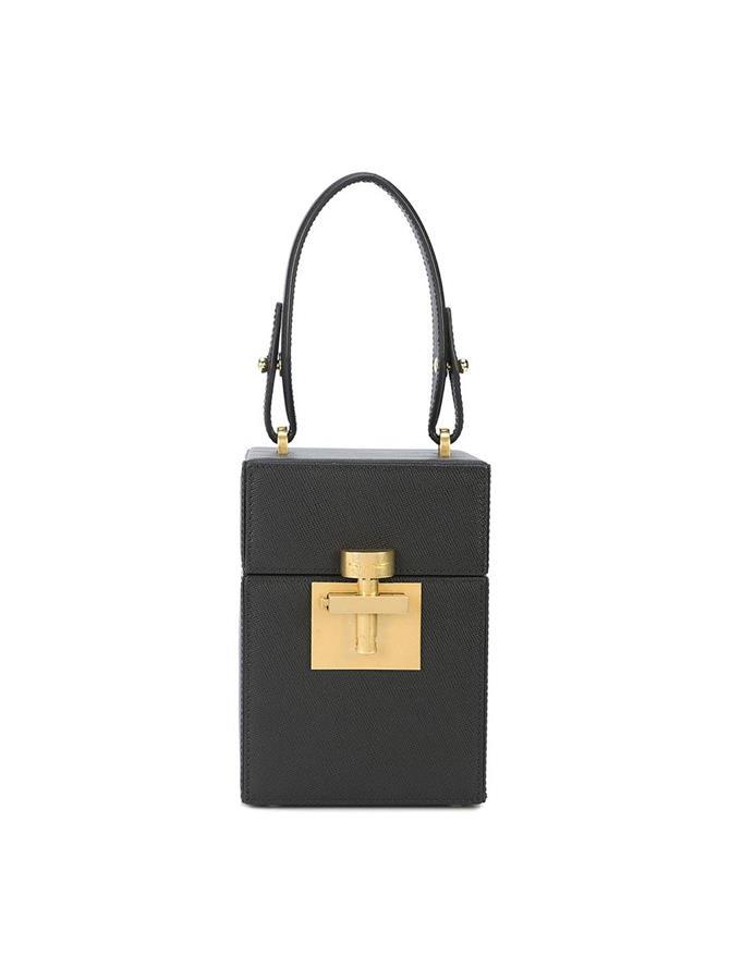 BLACK & GOLD SAFFIANO ALIBI BAG
