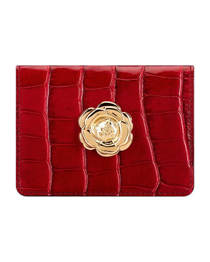 Ruby Croc-embossed Card Case