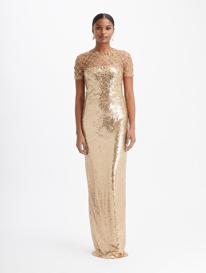 Tulle Scatter Sequin Gown