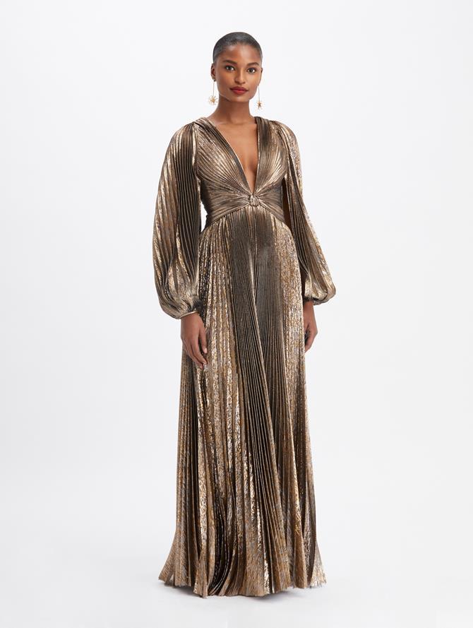 Lamé Plissé V-Neck Twist Gown
