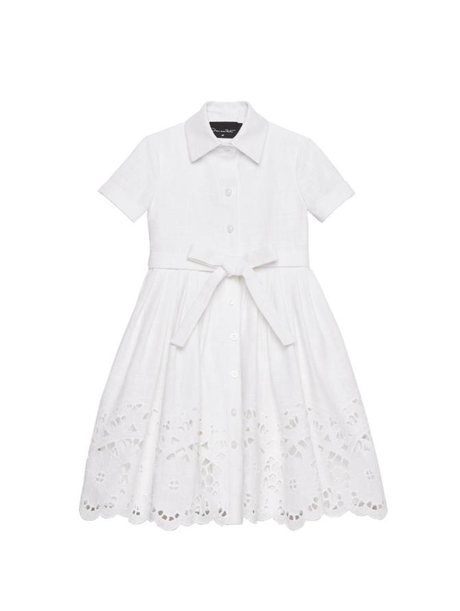 White Lace Collared Dress