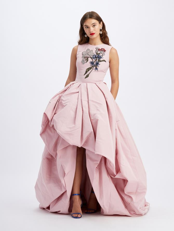 Silk Faille Sleeveless Embroidered Gown