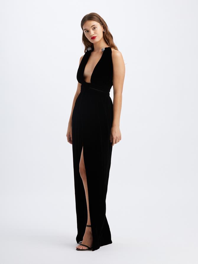 Deep-V Necklace Velvet Gown