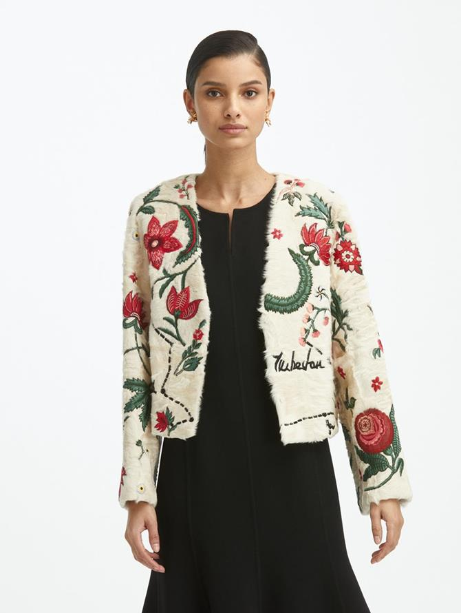 V Neck Jacket with Silk Road Print
