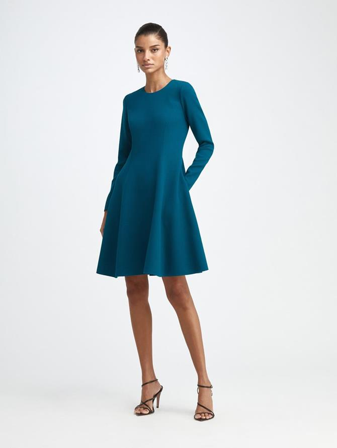 Stretch-Wool Crepe Swing Dress