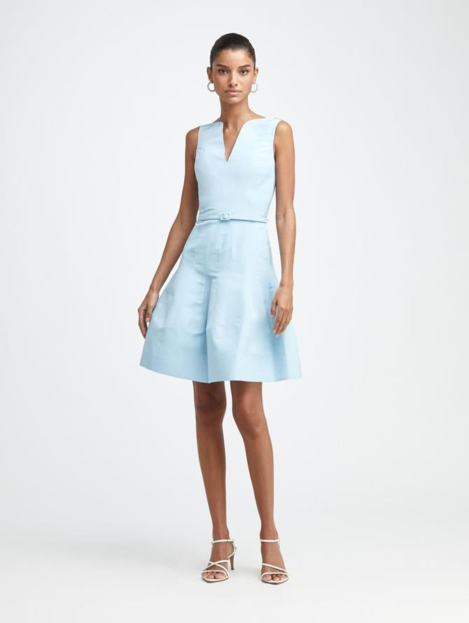 Silk Faille V-Neck Dress