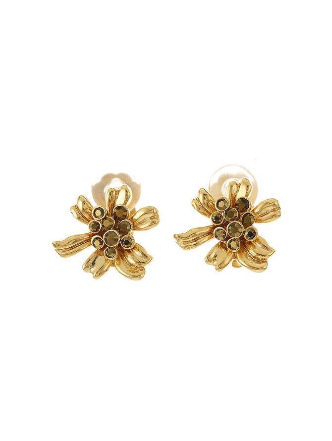 Classic Crystal Flower Button Earring