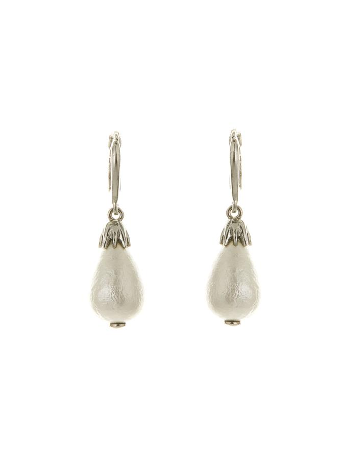 Classic Pearl Pave Small  Drop P Earring