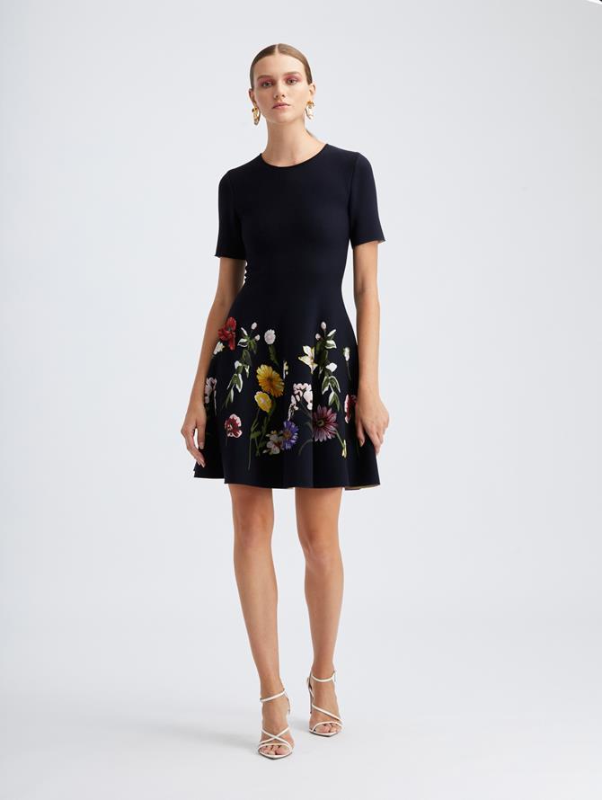 Short Sleeve Floral Knit Dress