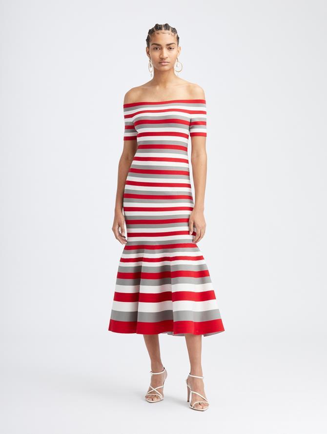 Scarlet Stripe Midi Knit Dress