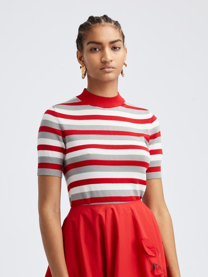 Scarlet Stripe Knit Pullover