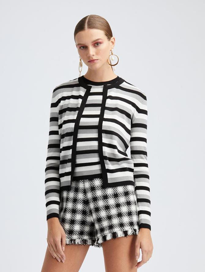 Ivory Stripe Cardigan